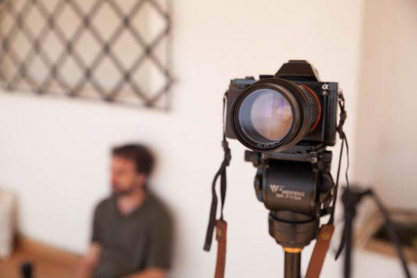 """Set de grabación de entrevista para el documental de """"La cosecha de Los Lunares"""" en Palomares"""
