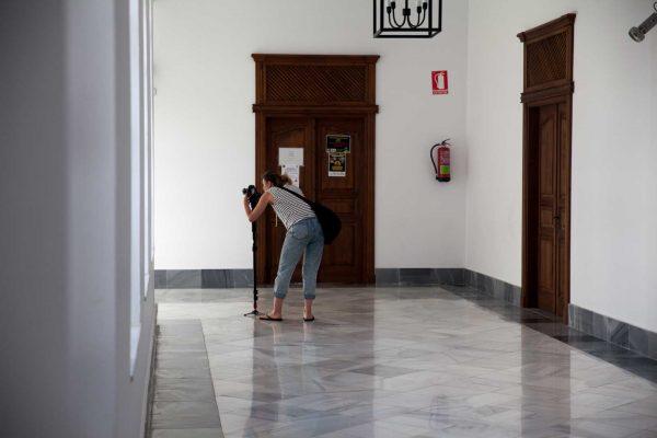 Maria Herrero, grabando recursos para el documental de La cosecha de los Lunares